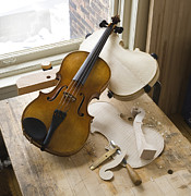 Finishing Photos - Finished Viola On Violin Makers Workbench by John Burke