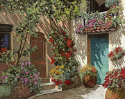 Card Tapestries Textiles Originals - Fiori In Cortile by Guido Borelli