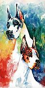 Great Dane Prints - Fire And Ice Print by Kathleen Sepulveda