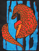 Fire Reliefs Prints - Fire and Ice Pangolin Print by Sean Ward
