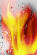Raining Mixed Media Prints - Fire and Rain Abstract Print by Steve Ohlsen