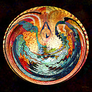 Digital Collage Prints - Fire and Water Print by Barbara Berney