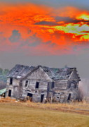 Abandoned Houses Photo Metal Prints - Fire Behind the Abandoned Metal Print by Emily Stauring