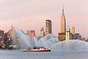 4th July Framed Prints - Fire Boat and Manhattan Skyline I Framed Print by Clarence Holmes