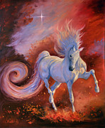 White Horse Painting Originals - Fire Dance by Jeanne Newton Schoborg