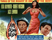 1957 Movies Prints - Fire Down Below, Robert Mitchum, Rita Print by Everett