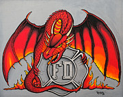 Maltese Cross Posters - Fire Dragon vs Maltese Cross Poster by Darrell Fitch