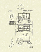 Rescue Drawings Prints - Fire Engine 1845 Patent Art Print by Prior Art Design