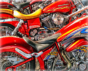 Harley Davidson Photos - Fire Engine Red Harleys by Brian Mollenkopf