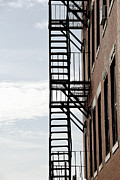 Brick Buildings Metal Prints - Fire escape in Boston Metal Print by Elena Elisseeva