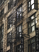 Residential Structure Prints - Fire Escape On Exterior Of Building In Manhattan Print by Keith Levit Photography