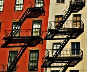 Fire Escapes Posters - Fire Escape Patterns Poster by Allan Einhorn