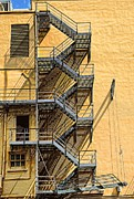 Stone Steps Posters - Fire escape Poster by Rudy Umans