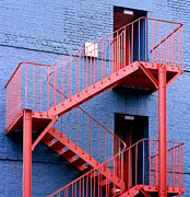 Escape Route Framed Prints - Fire Escape Staircase Framed Print by Victor De Schwanberg