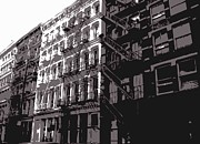 Row House Fire Escapes In New York Prints - Fire Escapes BW3 Print by Scott Kelley