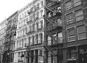 Row House Fire Escapes In New York Prints - Fire Escapes BW6 Print by Scott Kelley