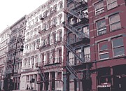 New York City Fire Escapes Posters - Fire Escapes Color 6 Poster by Scott Kelley