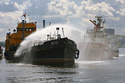 Oil Spills Photos - Fire-fighting Boat Training Exercise by Ria Novosti