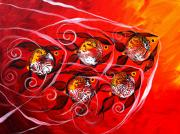 Five Canvas Paintings - Fire Fish Five by J Vincent Scarpace