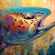 Prints Painting Originals - Fire From Water - Rainbow Trout Contemporary Art by Mike Savlen