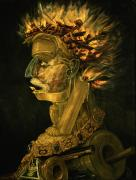 Oil Lamp Metal Prints - Fire Metal Print by Giuseppe Arcimboldo