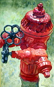 Fire Hydrant Paintings - Fire Hydrant Red by Katie Beecher
