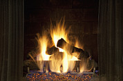 Flame Point Prints - Fire In The Fireplace Hearth Print by Bryan Mullennix