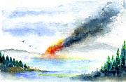 Forest Watercolor Art - Fire in the Mountains by John D Benson