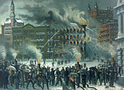 Burning Painting Posters - Fire in the New York World Building Poster by American School 
