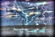 Lightning Digital Art - Fire in the Sky by Barry Jones