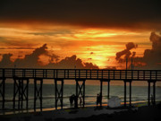 York Beach Digital Art Metal Prints - Fire in the Sky Metal Print by Bill Cannon