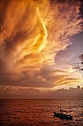 Striking Metal Prints - Fire in the Sky Metal Print by David Bowman