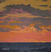 Sunset Seascape Pastels Posters - Fire in the Sky Poster by Harvey Rogosin