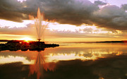 Unusual Fountain Prints - Fire in the Sky Print by John  Bartosik