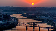 Allegheny Photos - Fire in the Sky over the Monongahela River by David Hahn