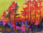 Warm Tones Drawings - Fire in the Trees by John  Williams