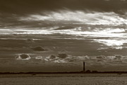 Fire Island Framed Prints - Fire Island Light and Clouds Black and White Framed Print by Christopher Kirby