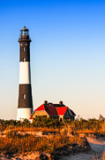 Red Roof Prints - Fire Island Light House Before Sunset Print by Linda Pulvermacher
