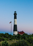 Red Roof Prints - Fire Island Light House Twilight Print by Linda Pulvermacher