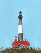 York Beach Painting Framed Prints - Fire Island Lighthouse Framed Print by Bruce Lennon