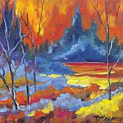Oil  Gallery Paintings - Fire Lake by Richard T Pranke