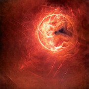 Abstract Digital Art - Fire Moon by Scott Norris