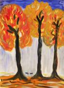 Autumn Trees Drawings Posters - Fire of the Wood Poster by Mary Carol Williams