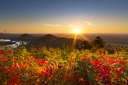 Fall River Scenes Prints - Fire on the Mountain Print by Debra and Dave Vanderlaan