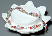 Sterling Silver Bracelet Art - Fire Opal and White Topaz Bracelet by Robin Copper