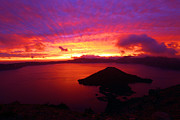 Crater Lake Sunset Prints - Fire Over Wizard Island Print by Adam Jewell