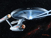 Science Fiction Painting Prints - Fire Phasers Print by Kim Lockman