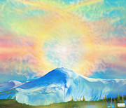 Snow-covered Landscape Digital Art Posters - Fire Rainbow Over Alberta Peak With Hebrew Scripture Poster by Anastasia  Ealy