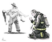 Rescue Drawings Prints - Fire Rescue Print by Murphy Elliott