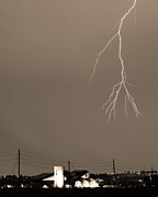 Unusual Lightning Prints - Fire Rescue Station 67  Lightning Thunderstorm 2C BW Sepia Print by James Bo Insogna